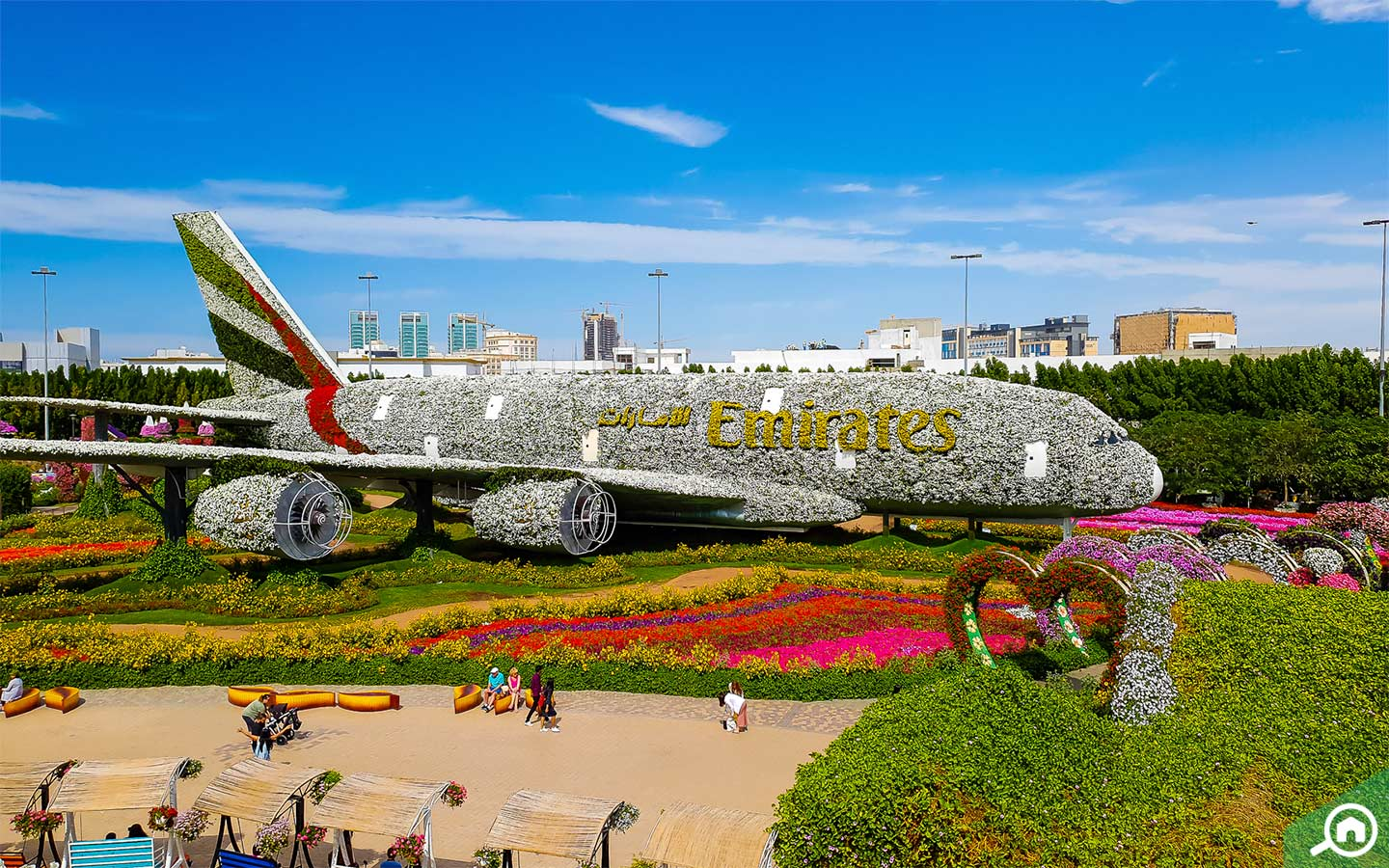 A plane decorated with flowers rests peacefully on the garden bed of Dubai Miracle Garden
